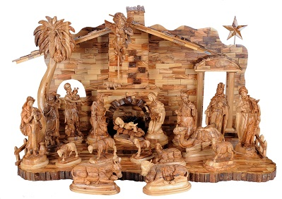 Our Very Large Hand Carved Olive Wood Nativity Set Holy Land